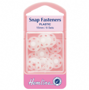 Hemline Snap Fasteners - Opaque White - 15mm